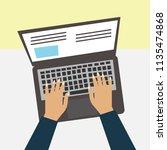 vector hands on laptop keyboard ... | Shutterstock .eps vector #1135474868