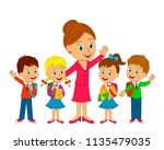 kids with bag and teacher are... | Shutterstock .eps vector #1135479035