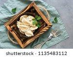 russian food vareniki with... | Shutterstock . vector #1135483112