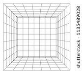 wireframe mesh cube room.... | Shutterstock . vector #1135489028