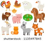 cute cartoon farm animals set.... | Shutterstock .eps vector #1135497845