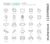 collection of sleep related... | Shutterstock .eps vector #1135498865