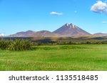 beautiful cone volcano mount...   Shutterstock . vector #1135518485