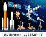 vector cartoon space... | Shutterstock .eps vector #1135525448