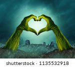 Zombie Hand Heart Shape In A...