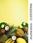 exotic pineapples  ripe... | Shutterstock . vector #1135535966