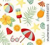 summer elements pattern | Shutterstock .eps vector #1135541072
