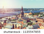 aerial view of riga with the...   Shutterstock . vector #1135547855