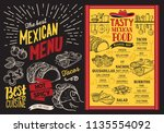 mexican restaurant menu on... | Shutterstock .eps vector #1135554092