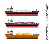 set of detailed cargo and... | Shutterstock .eps vector #1135559006