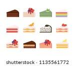 different cake slices set....   Shutterstock .eps vector #1135561772