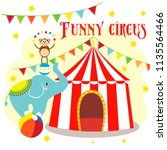 a carnival with stripe tents ... | Shutterstock .eps vector #1135564466