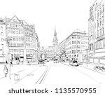 hamburg town hall. germany.... | Shutterstock .eps vector #1135570955