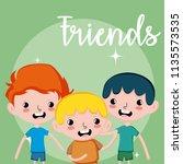 my friends cute cartoons | Shutterstock .eps vector #1135573535