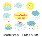 set of funny vector weather... | Shutterstock .eps vector #1135573685