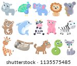cute cartoon animals set.  | Shutterstock .eps vector #1135575485