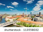 Stock photo berlin skyline city panorama with cloudy blue sky famous landmark in berlin germany europe 113558032