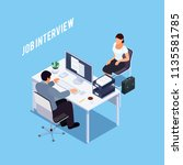isometric concept of interview... | Shutterstock .eps vector #1135581785
