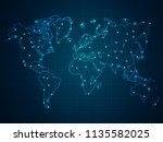abstract mash line and point... | Shutterstock .eps vector #1135582025