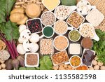 vegan food rich in iron | Shutterstock . vector #1135582598