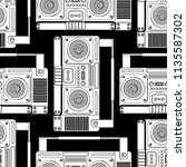 boombox retro pattern seamless. ... | Shutterstock .eps vector #1135587302