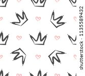 repeated crowns and hearts... | Shutterstock .eps vector #1135589432