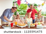 colorful portrait of happy big... | Shutterstock . vector #1135591475