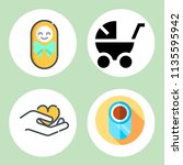 simple 4 icon set of family... | Shutterstock .eps vector #1135595942