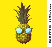 color engraving pineapple with... | Shutterstock .eps vector #1135601222