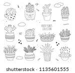 vector line drawing set of... | Shutterstock .eps vector #1135601555
