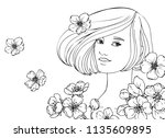 vector beautiful girl with ... | Shutterstock .eps vector #1135609895