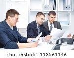 team of young business men... | Shutterstock . vector #113561146