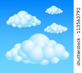 Cartoon Bubble Clouds. Illustration on white background for design - stock vector