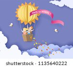 back to school 1 september card ... | Shutterstock .eps vector #1135640222