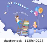 back to school 1 september card ... | Shutterstock .eps vector #1135640225