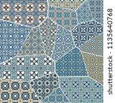vector patchwork quilt pattern. ...   Shutterstock .eps vector #1135640768