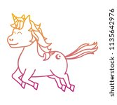 degraded line cute unicorn with ... | Shutterstock .eps vector #1135642976