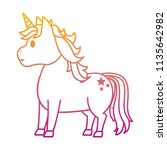 degraded line cute unicorn with ... | Shutterstock .eps vector #1135642982