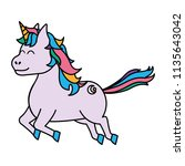 color cute unicorn with arrow... | Shutterstock .eps vector #1135643042
