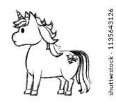 grunge cute unicorn with stars... | Shutterstock .eps vector #1135643126
