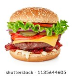 fresh burger with cheese and... | Shutterstock . vector #1135644605
