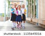happy children girls girlfriend ... | Shutterstock . vector #1135645016