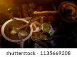 thai noodle food making on... | Shutterstock . vector #1135669208
