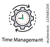 clock inside gear wheel and... | Shutterstock .eps vector #1135681205