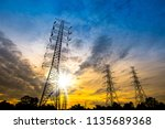 electricity transmission power... | Shutterstock . vector #1135689368