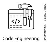 a web page having programming... | Shutterstock .eps vector #1135704002