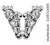retro baroque decorations... | Shutterstock .eps vector #1135713305
