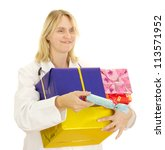 Medical doctor with some gifts - stock photo