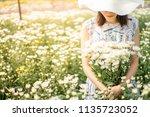 outdoor portrait of a beautiful ... | Shutterstock . vector #1135723052