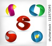 abstract 3d sphere logos... | Shutterstock .eps vector #113573395
